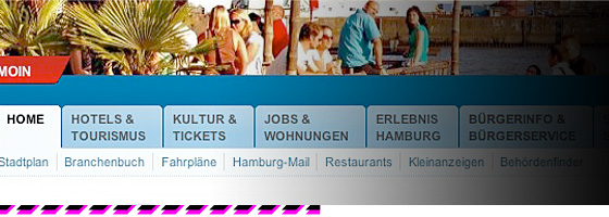 Screenshot des Hamburger Stadtportals nach dem Relaunch